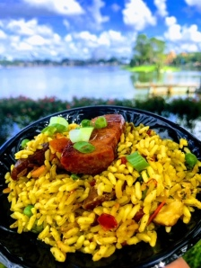 Spanish Style Paella with Chorizo and Roasted Chicken